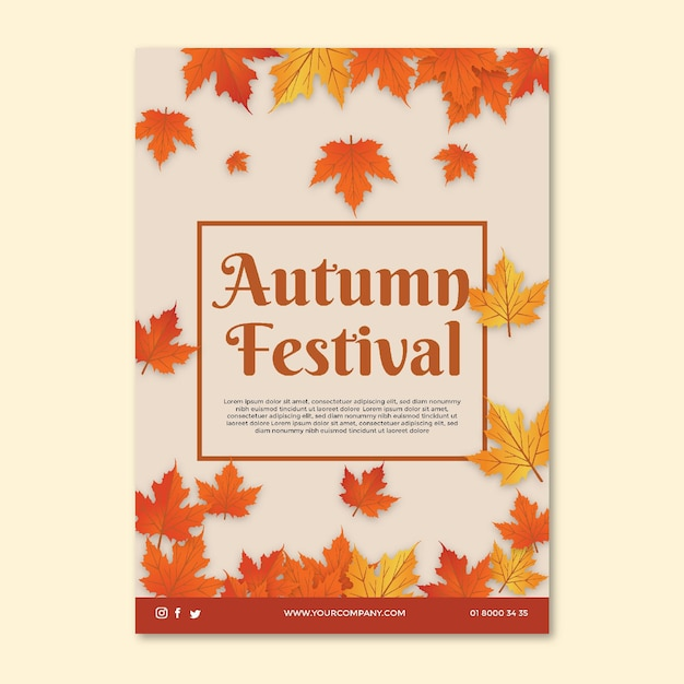 Mid autumn flyer template Free Vector