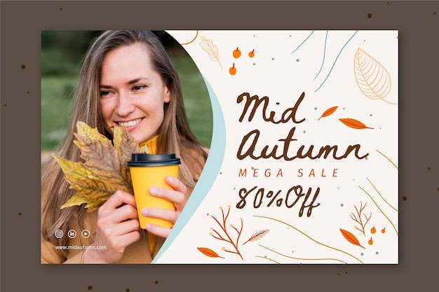 Mid autumn horizontal banner template Free Vector