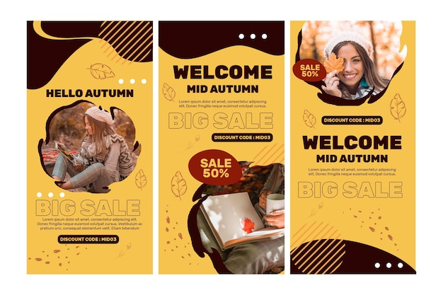 Mid autumn instagram stories Free Vector