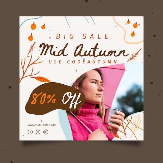 Mid autumn squared banner design Free Vector