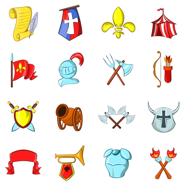 The middle ages icons set Premium Vector