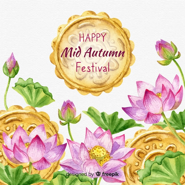 Middle autumn festival background Free Vector