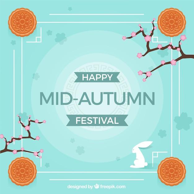 Middle autumn festival, blue background