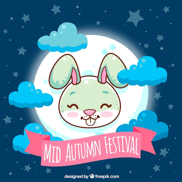Middle autumn festival, cute scene with a rabbit and full moon