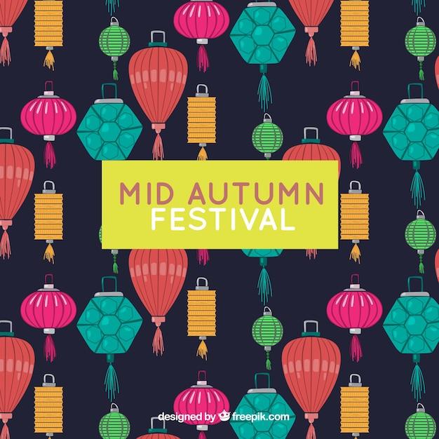 Middle autumn festival, full color lanterns