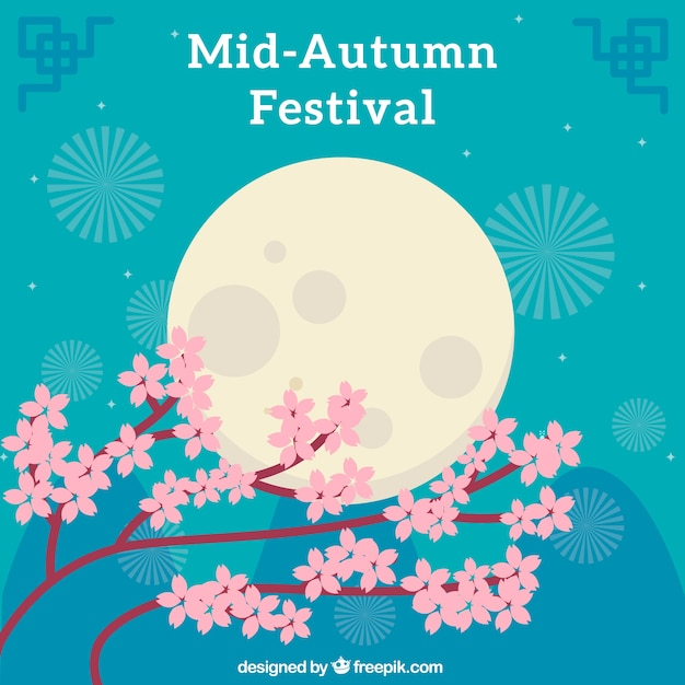 Middle autumn festival, full moon and cute flowers