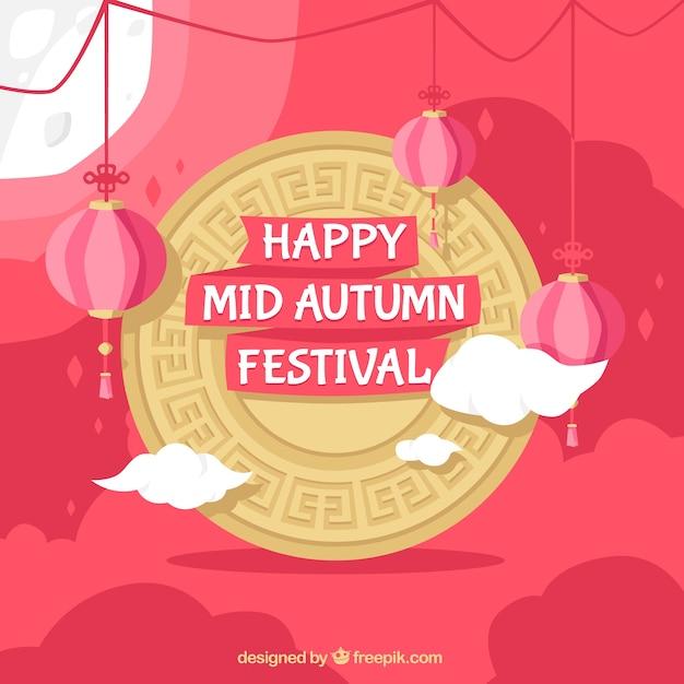 Middle autumn festival, golden frame