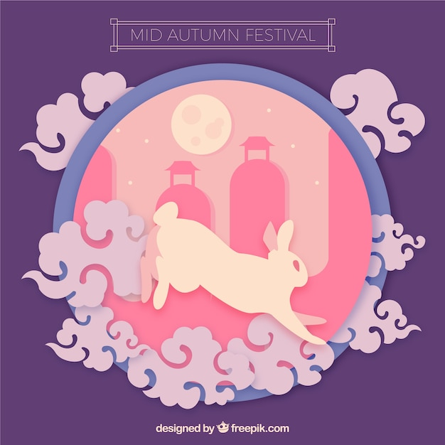 Middle autumn festival, pink and purple scene Free Vector
