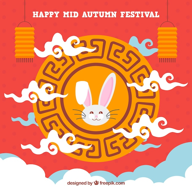 Middle autumn festival, red background with an ornamental frame