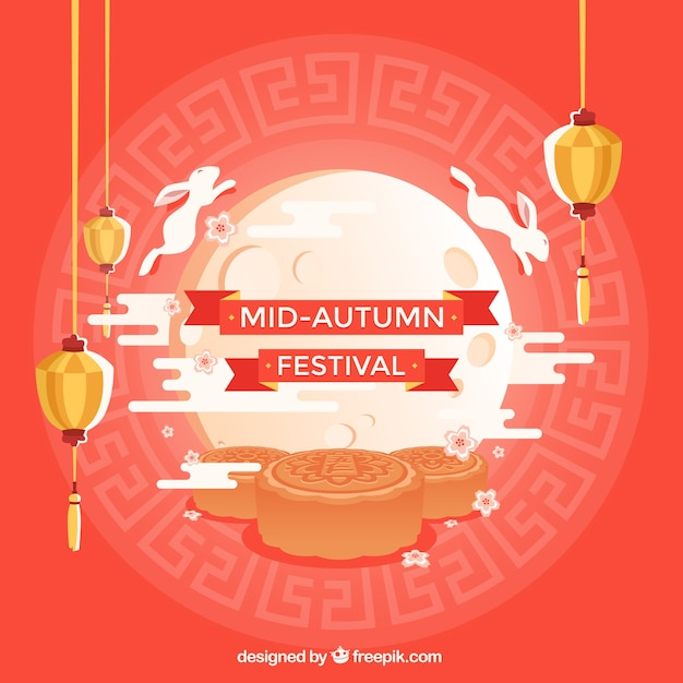Middle autumn festival, red background