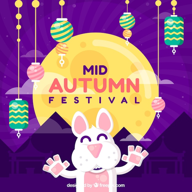 Middle autumn festival, scene with a happy rabbit