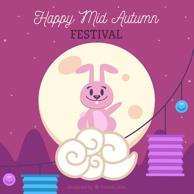 Middle autumn festival, scene with a pink rabbit