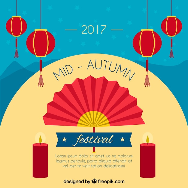 Festa medievale di autunno, scena con un ventilatore Vettore gratuito