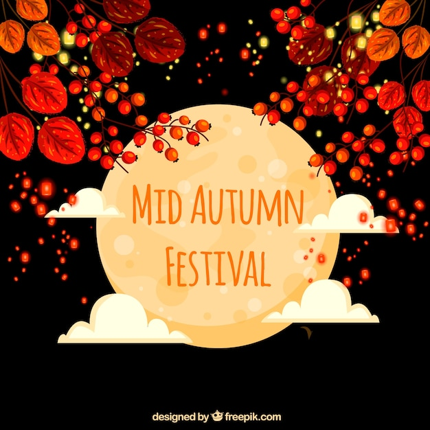 Middle autumn festival, scene with full moon and flowers Free Vector