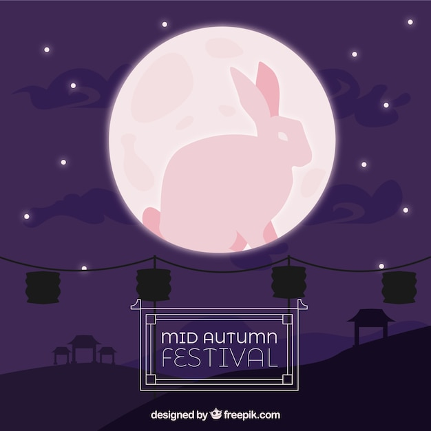 Middle autumn festival, scene with pink moon and a rabbit