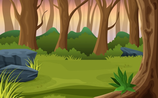 Middle of a forest nature illustration Premium Vector
