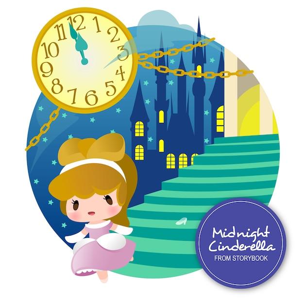 Midnight cinderella storybook Premium Vector