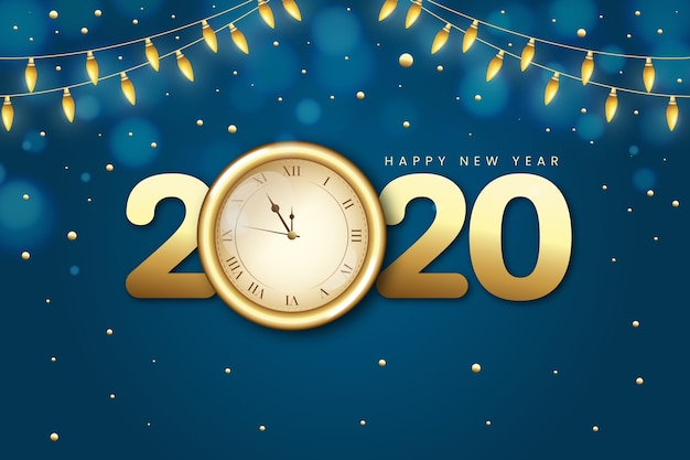 Midnight golden clock and string lights Free Vector