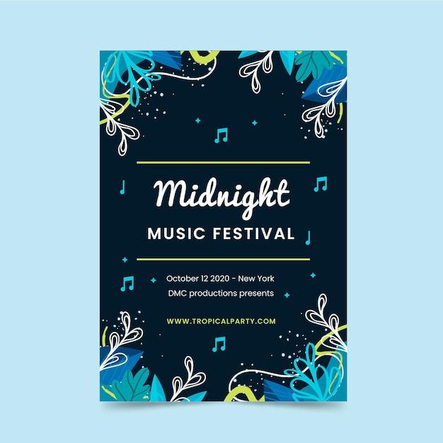 Modello di manifesto del festival musicale di mezzanotte Vettore gratuito