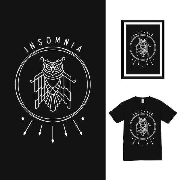 Дизайн футболки midnight owl Premium векторы