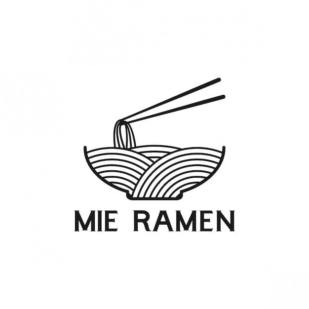 Mie ramen logo design Premium Vector