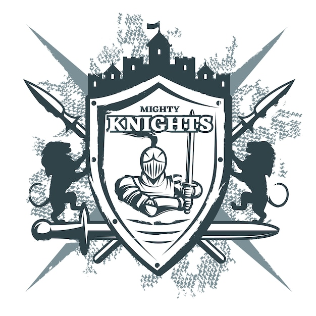 Mighty knights print Free Vector