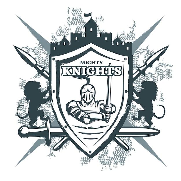 Mighty knights print Vettore gratuito