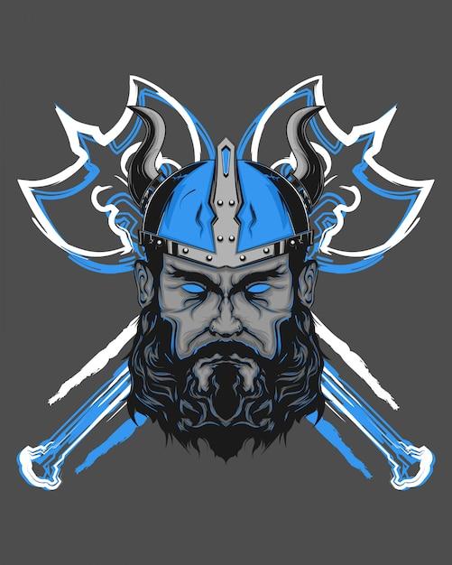 Mighty viking Premium Vector