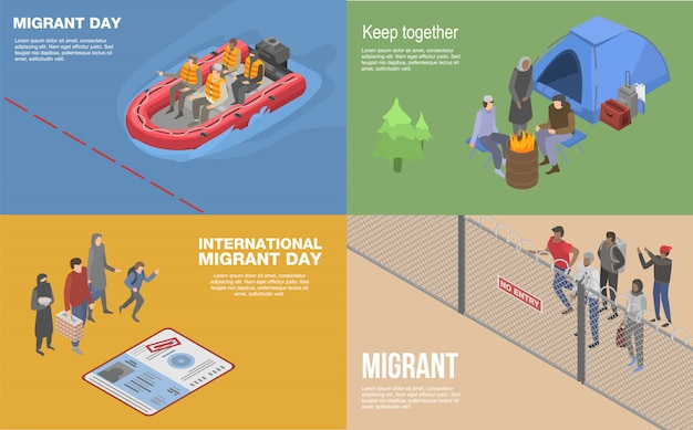 Migrant refugee banner set. isometric set of migrant refugee vector banner for web design Premium Vector