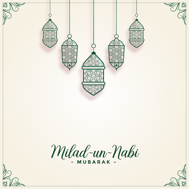 Milad un nabi decorative lamps festival background Free Vector