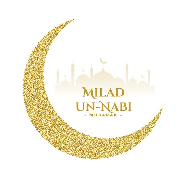 Milad un nabi golden festival wishes card design Free Vector
