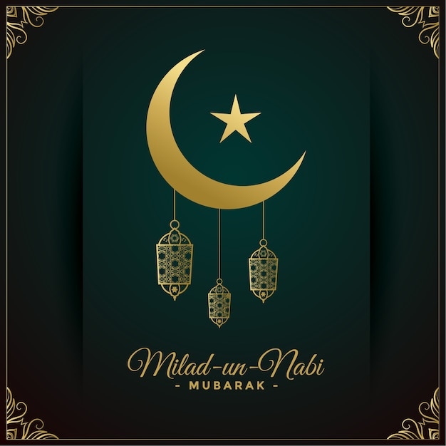 Milad un nabi golden wishes card design Free Vector