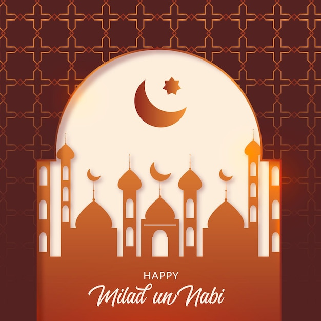 Milad-un-nabi greeting card birth of the prophet Free Vector