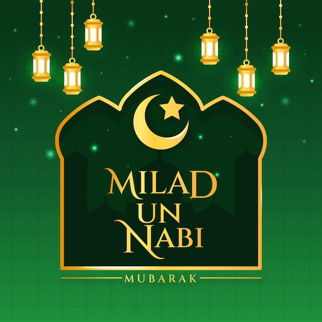 Milad-un-nabi greeting card and lamps Free Vector