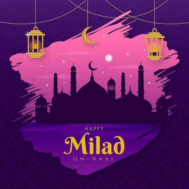 Milad-un-nabi greeting card mosque at dusk Premium Vector
