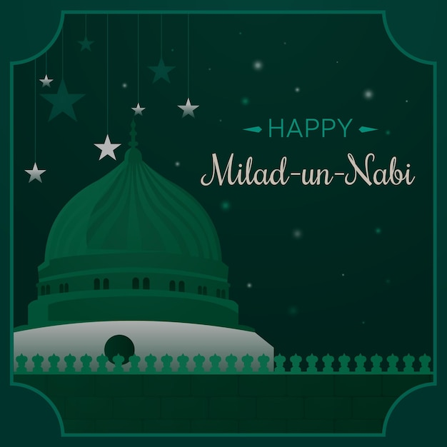 Milad-un-nabi greeting design Free Vector