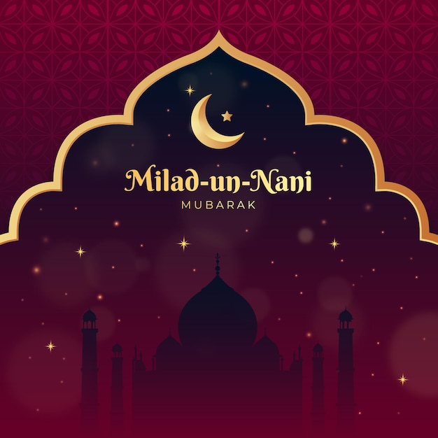 Milad un nabi greetings with mosque bokeh effect Free Vector