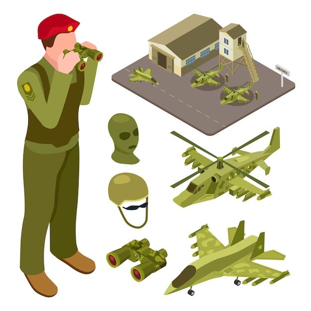 ヘリコプター、戦闘機、兵士の図と軍事空軍基地等尺性 Premiumベクター