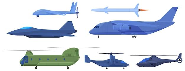 軍用機、偵察ドローン、ミサイル、戦闘機、ヘリコプター。 Premiumベクター