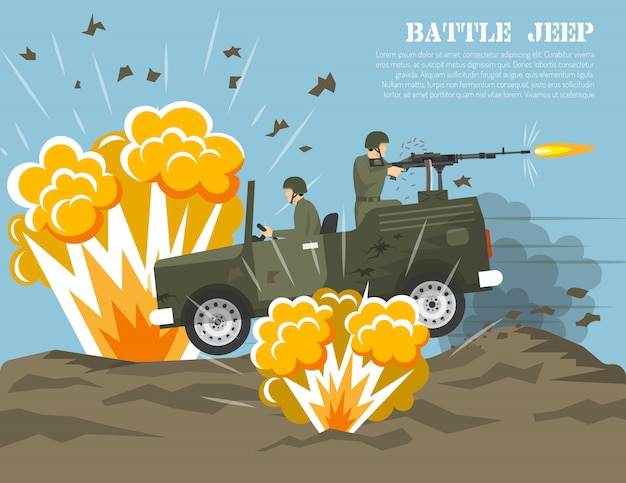 Military army battle environment flat poster Free Vector