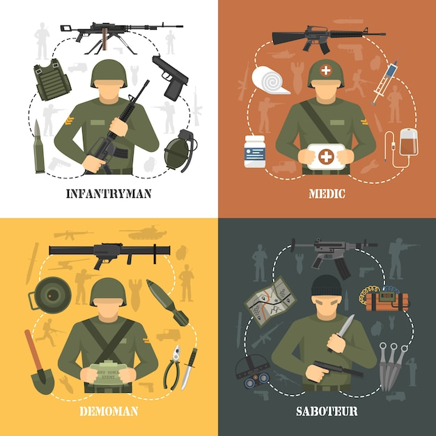 Military army elements and characters Free Vector