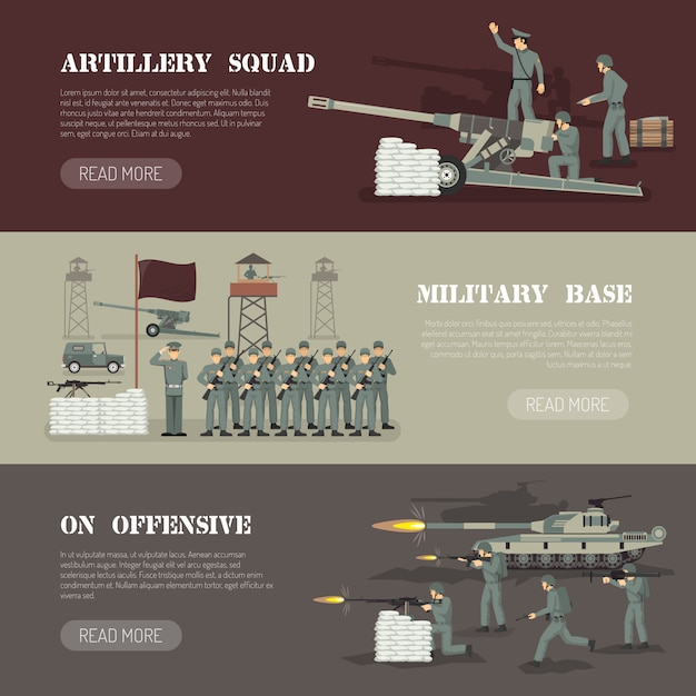 Military army horizontal banners set Free Vector