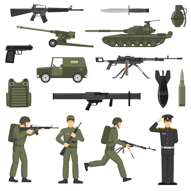 Military army khaki color  icons collecton Free Vector