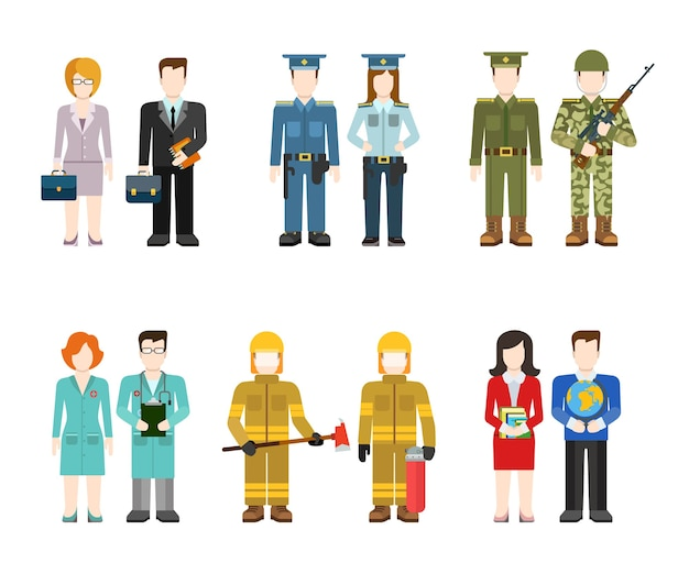 군 육군 장교 사령관 사업가 경찰관 의사 소방관 교사 사람들이 균일 한 평면 아바타 사용자 프로필 그림을 설정합니다. 창조적 인 사람들 컬렉션. 무료 벡터