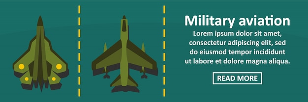 Military aviation banner horizontal concept Premium Vector