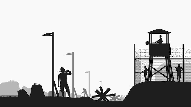Military base with guardians black color silhouette Premium Vector