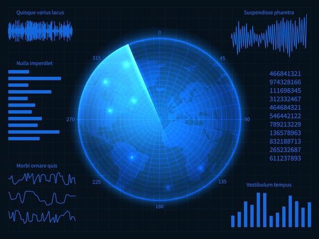 ミリタリーブルーレーダー。ソナー、チャート、コントロール要素を備えたhudインターフェイス。仮想ディスプレイのベクター画面 Premiumベクター