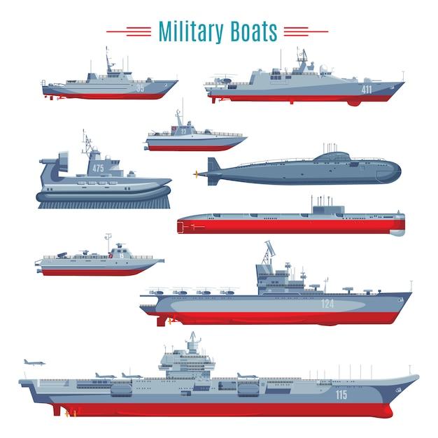 Коллекция военных лодок Бесплатные векторы