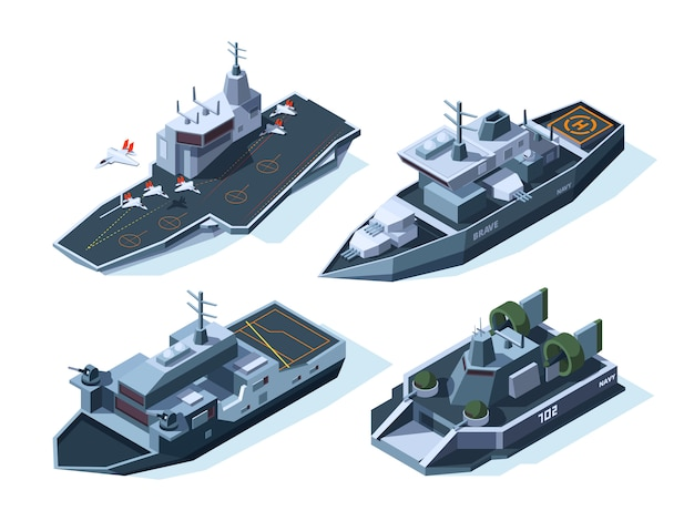 Military boats isometric Premium Vector