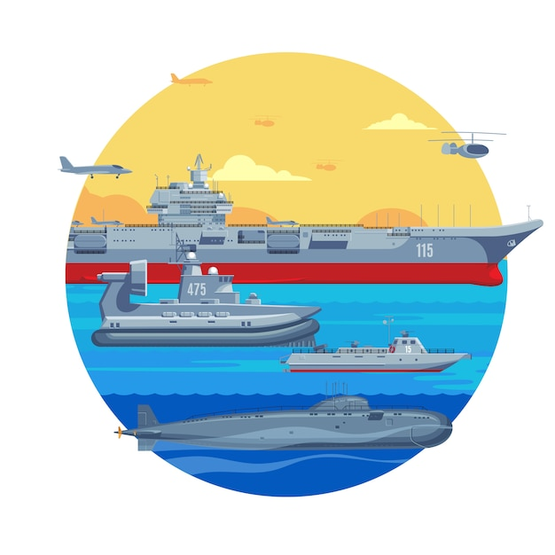 Шаблон военных лодок Бесплатные векторы